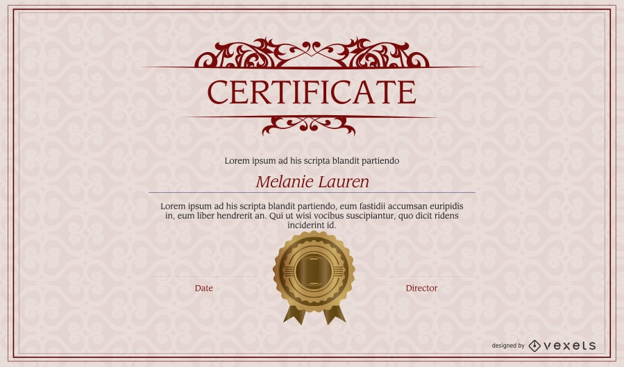 Sample certificate with seal