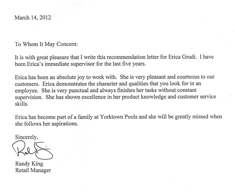 Job recommendation letter from previous supervisor