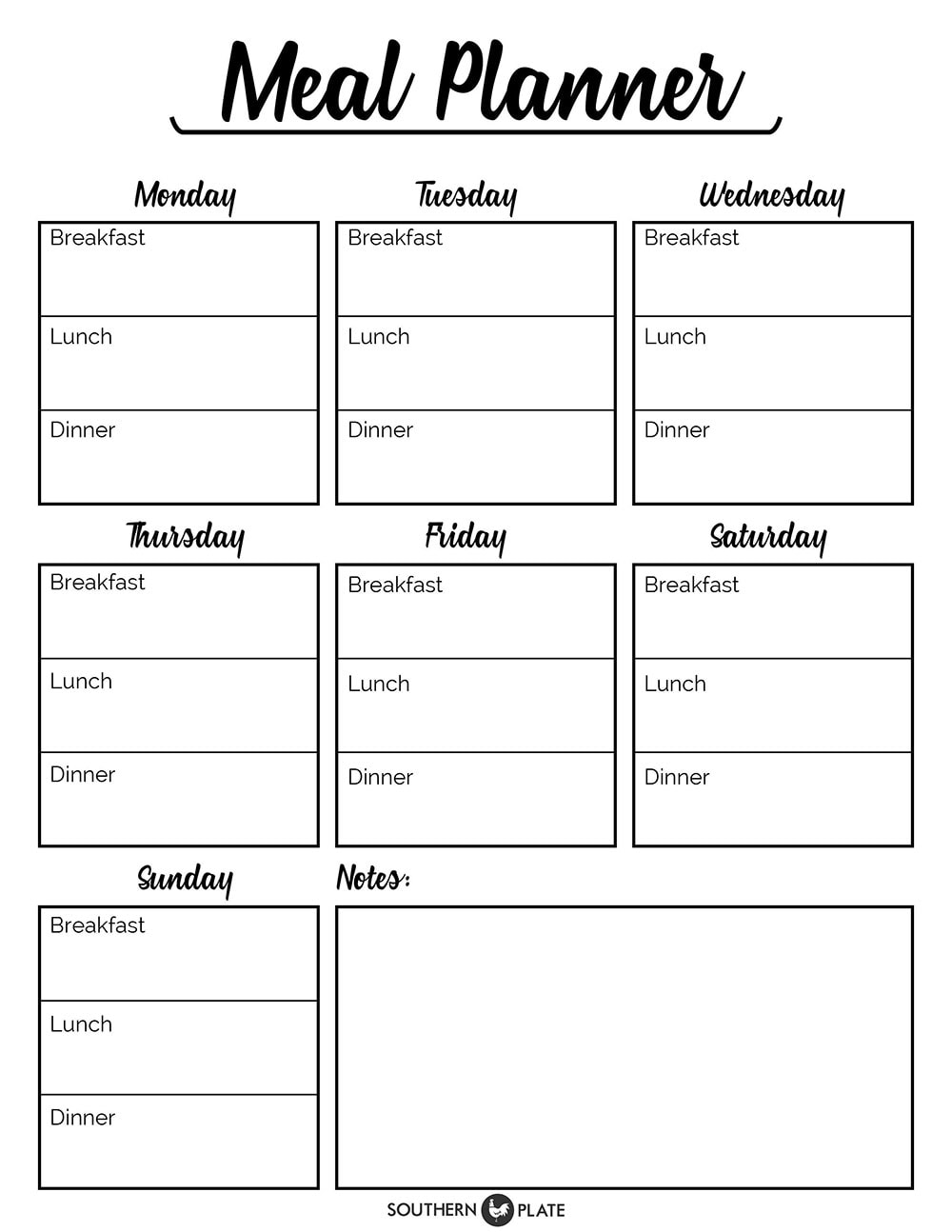 Weekly meal planner for your home