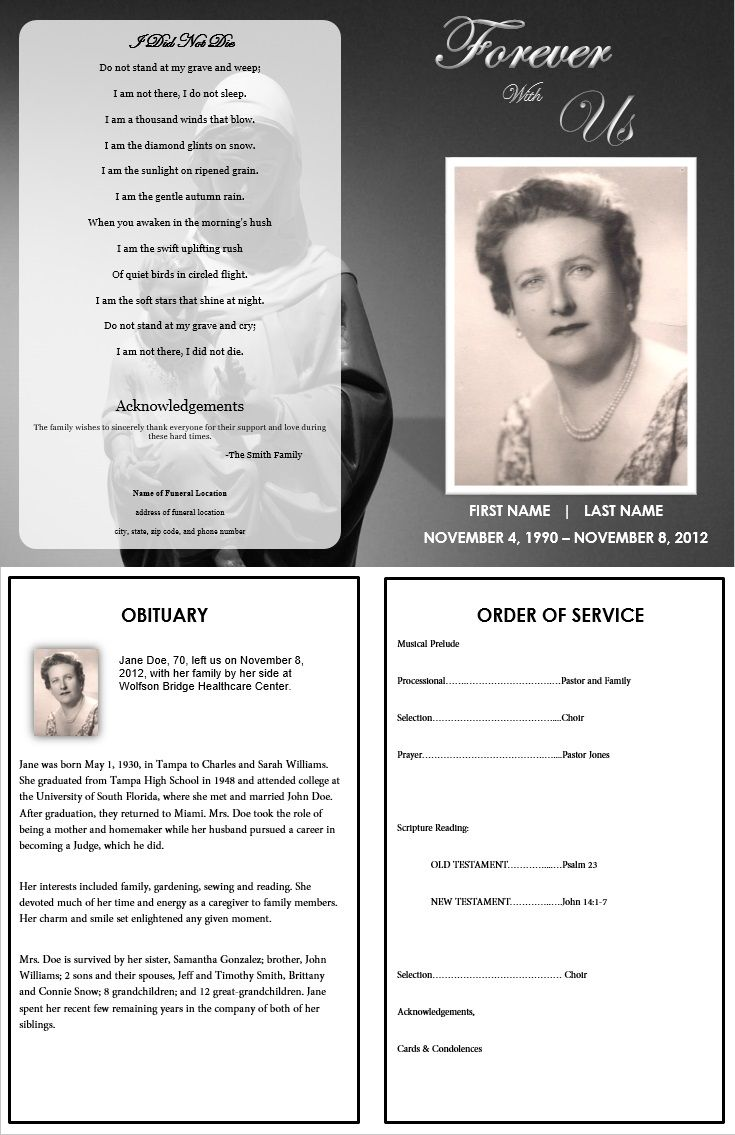 Obituary example with poem, image and order of service