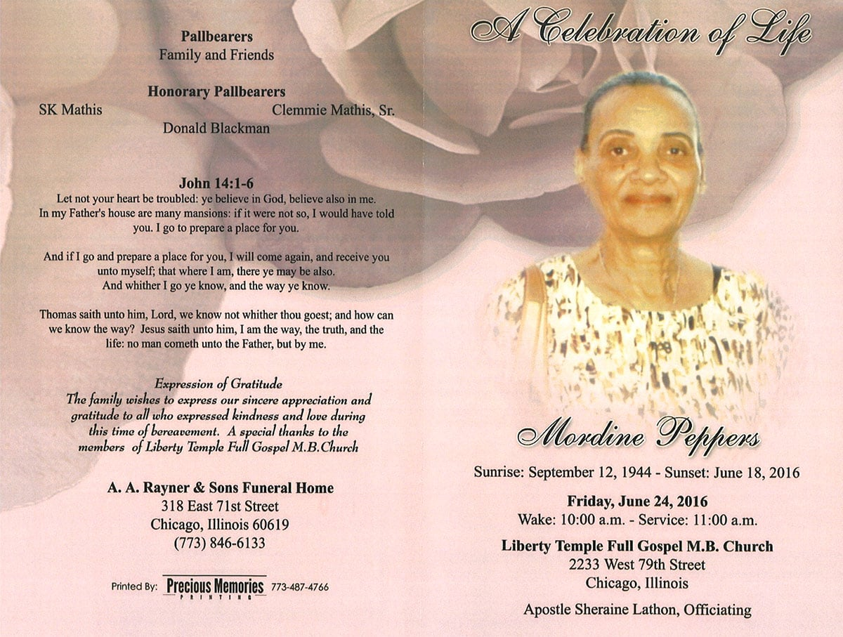 Colorful obituary example with photo