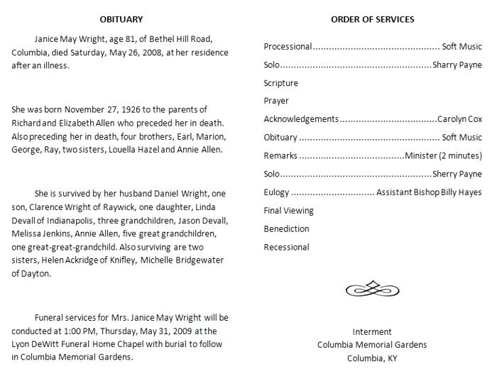 Obituary sample with order of service