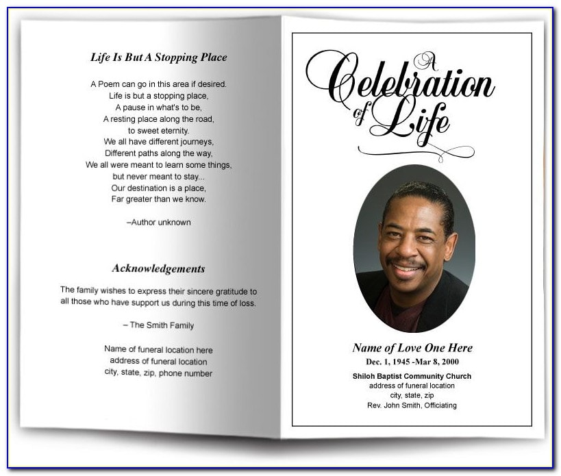 Obituary sample with poem and image