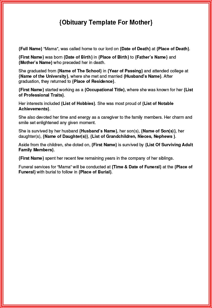 Fillable obituary template for mother