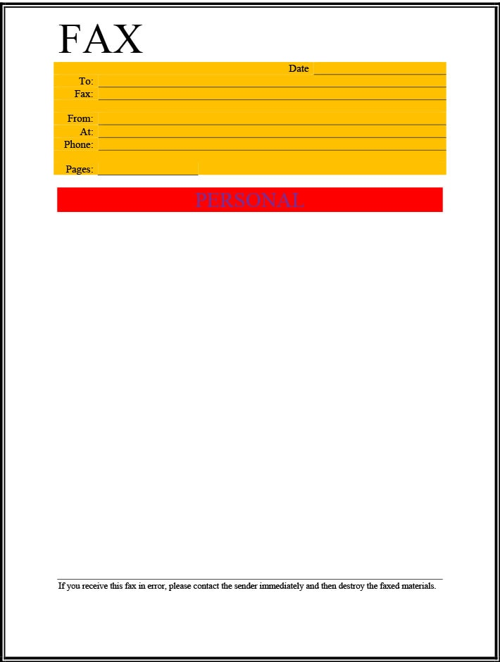 Personal use fax cover sheet