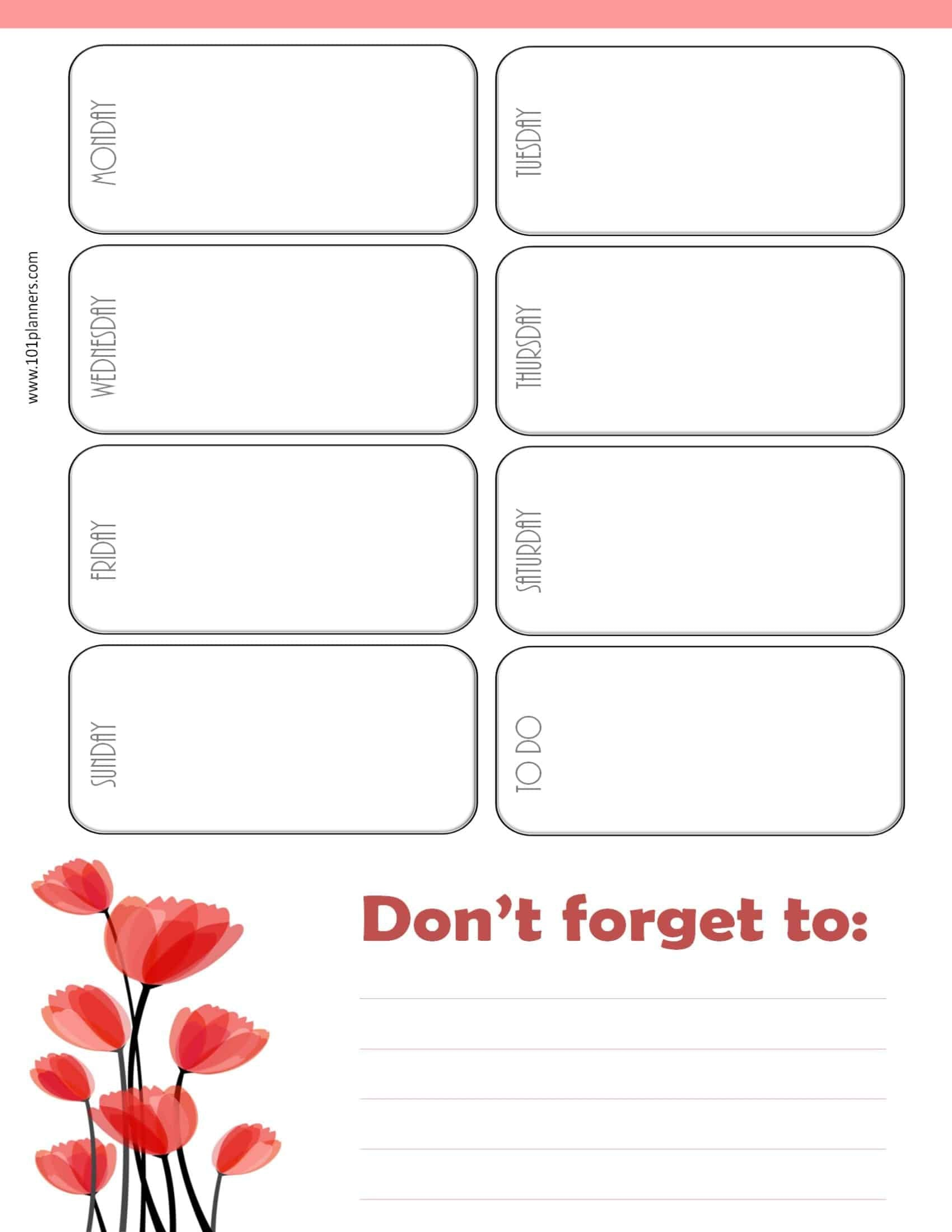 Planner with don't forget notes