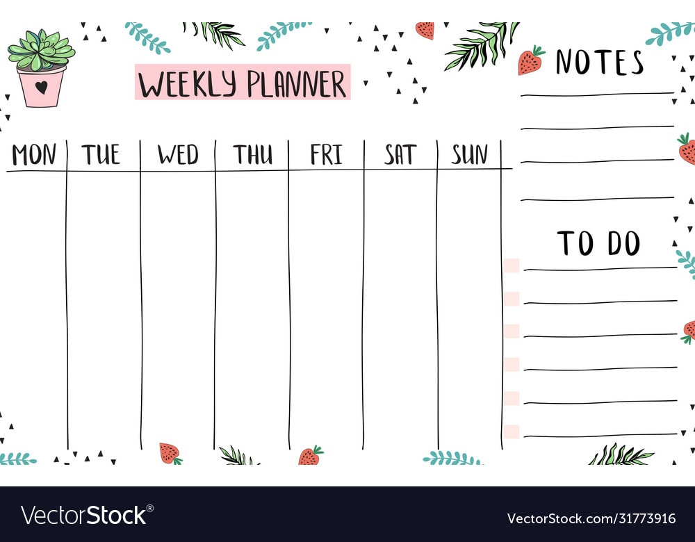Planner with notes and todo
