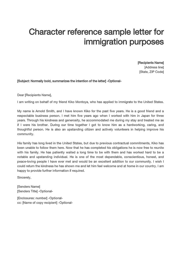 Reference for immigration