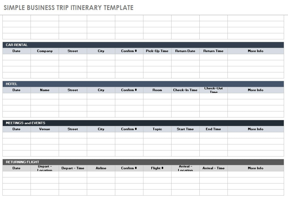 Sample business trip itinerary