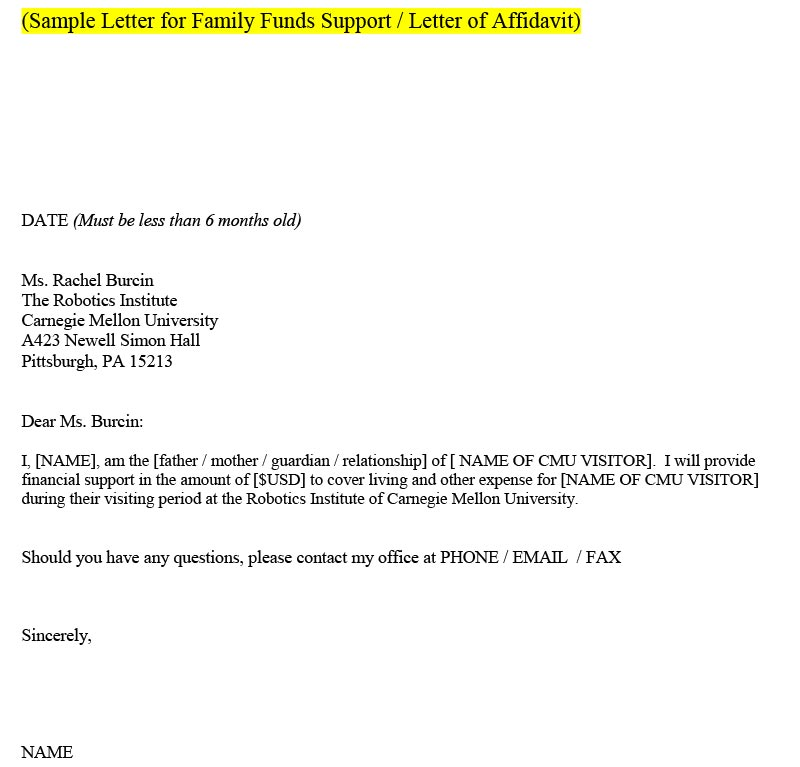 Sample letter of family funds for support