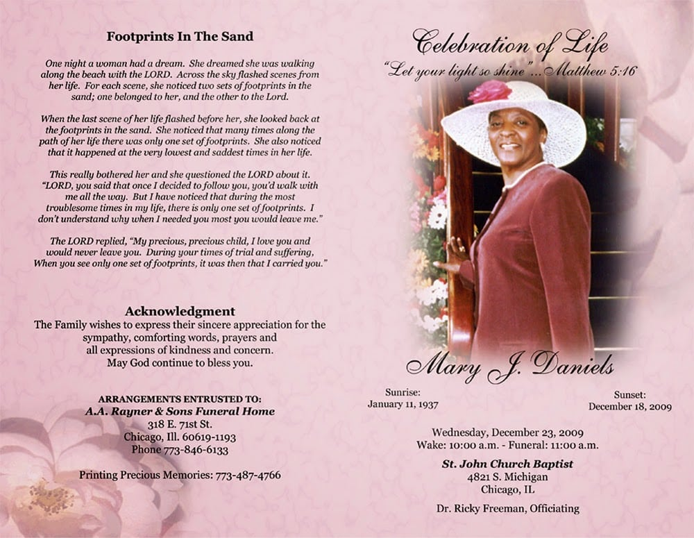 Colorful obituary sample for mother