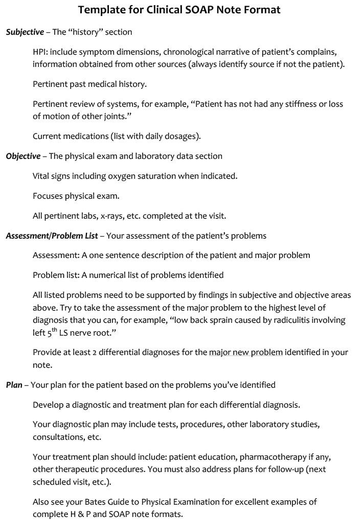 SOAP Note Template For General Clinical Assessment