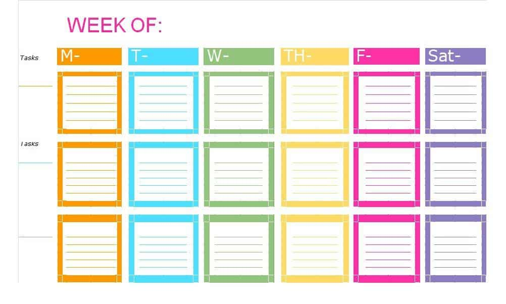 Colorful weekly to-do list for students