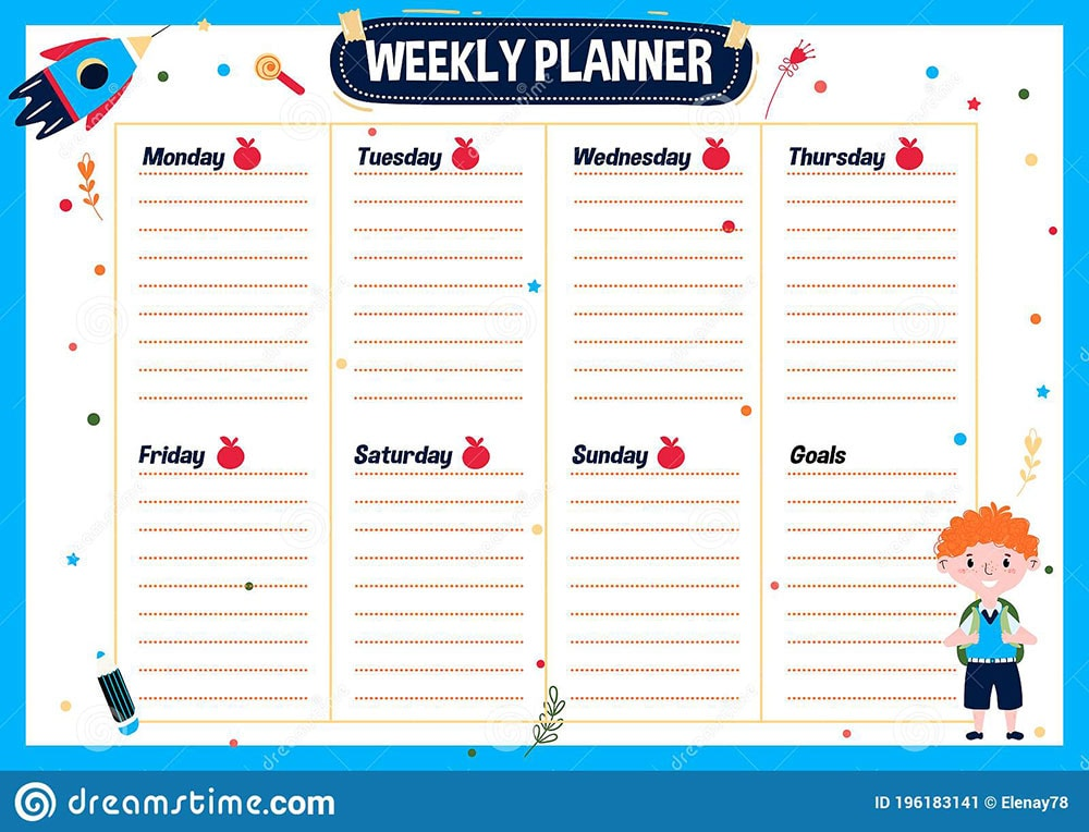 Weekly schedule ideal for students