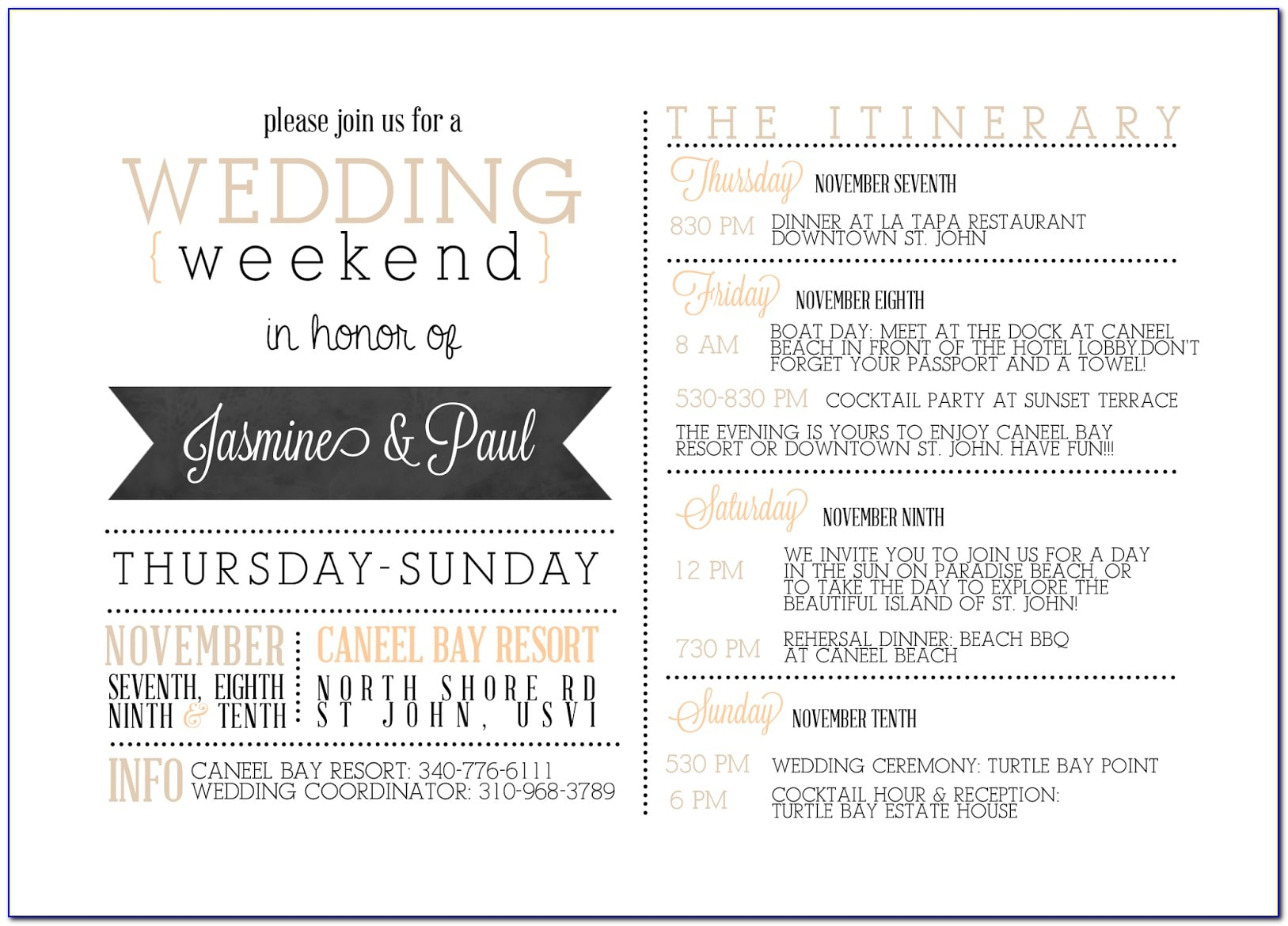 Wedding itinerary template for guests