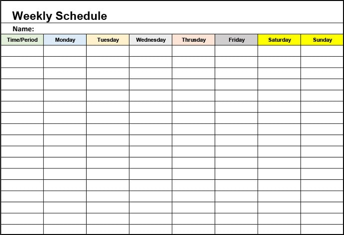 A weekly planner template. Download free printable in excel and pdf format