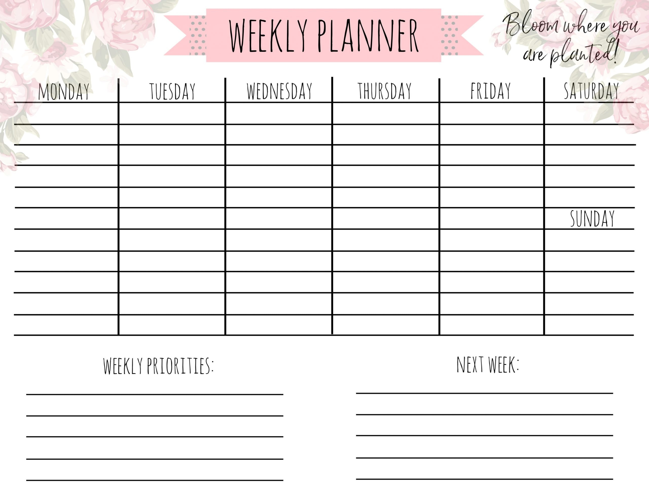 Planner with floral background with weekly priorities